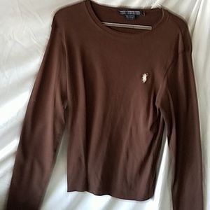 A ladies Brown pullover long sleeve